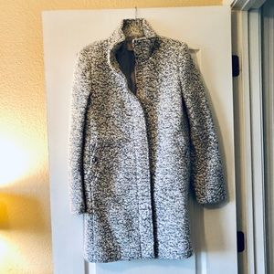 NWT marled gray and white wool city coat